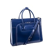 McKleinUSA Lake Forest W Series Leather Dual Compartment Briefcase, Navy (94337)