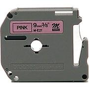 "Brother M-E21 Label Maker Tape, 3/8""W, Black on Pink"