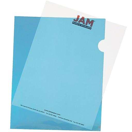 "JAM Paper Plastic Sleeves, 9"" x 12"", Blue, 12/Pack (2226316987)"