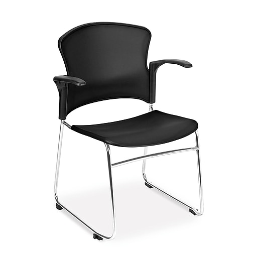 OFM Plastic Multi-Use Stack Chair with Arms, Chrome/Black, 4/Pack (310-PA-4PK-BLK)