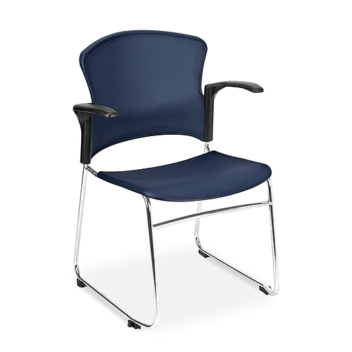 OFM Plastic Multi-Use Stack Chair with Arms, Navy, 4/Pack (845123049204)
