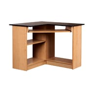 "Mylex Corner Computer Workstation 35.5""W x 35.5""D x 29""H Oak and Black (43098)"