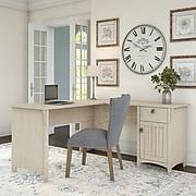 Bush Furniture Salinas L Shaped Desk with Storage, Antique White (SAD160AW-03)