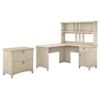 Bush Furniture Salinas 60W L Shaped Desk With Hutch And Lateral File  Cabinet, Antique White (SAL005AW)