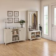 Bush Furniture Salinas Entryway Storage Set with Hall Tree, Shoe Bench and Accent Cabinet, Antique White (SAL008AW)