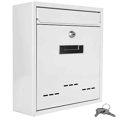 SereneLife Indoor/Outdoor Wall Mount Locking Mailbox White (93599566M)