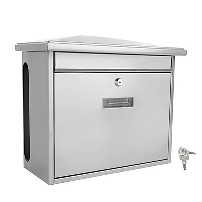 SereneLife Indoor/Outdoor Wall Mount Locking Mailbox, Silver (93599568M)