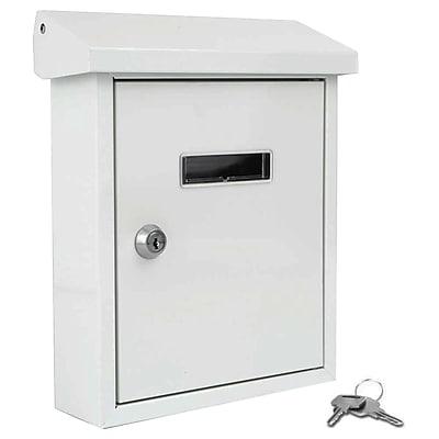 SereneLife Indoor/Outdoor Wall Mount Locking Mailbox White (93599564M)