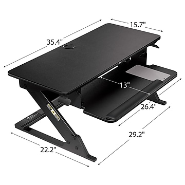 """3M™ Precision Standing Desk, 35""""W Adjustable Desk Riser with Gel Wrist Rest and Precise™ Mouse Pad, Black (SD60B)"""