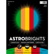 "Astrobrights Primary Cardstock Paper, 8.5"" x 11"", 65 lbs, Assorted Colors, 100/Pack (91646)"