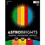 """Astrobrights Primary Cardstock Paper, 8.5"""" x 11"""", 65 lbs, Assorted Colors, 100/Pack (91646)"""