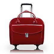 McKlein Limited Edition Laptop Rolling Briefcase, Red Leather (96146A)