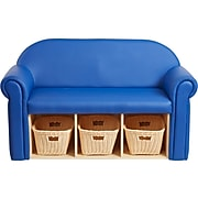 Factory Direct Partners Little Lux Leather Sofa, Blue (10496-BL)