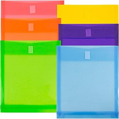 JAM Paper® Plastic Envelopes with Hook & Loop Closure, Letter Open End, 9.75 x 11.75, Assorted Colors, 6/pack (118V1assrt)