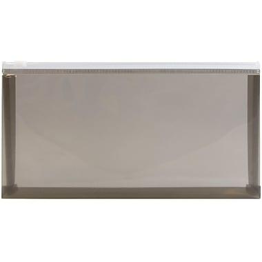JAM Paper® Plastic Envelopes with Zipper Closure, #10, Booklet, 5.25 x 10, Smoke, 12/pack (32232733)
