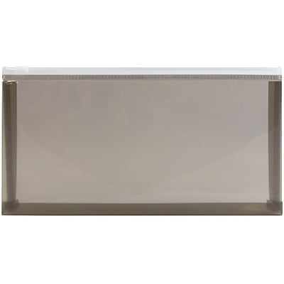JAM Paper® Plastic Envelopes with Zipper Closure, #10, Booklet, 5.25 x 10, Smoke, 12/pack (32232733)
