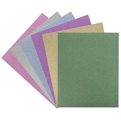 JAM Paper® 2 Pocket Plastic Glitter Folders - Assorted Sparkling Colors - 6/pack