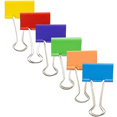 JAM Paper® Large 41mm Binderclips, 6 Colors of Assorted Binder clips, 12 per color, 72 per set (340BCrgbyop)