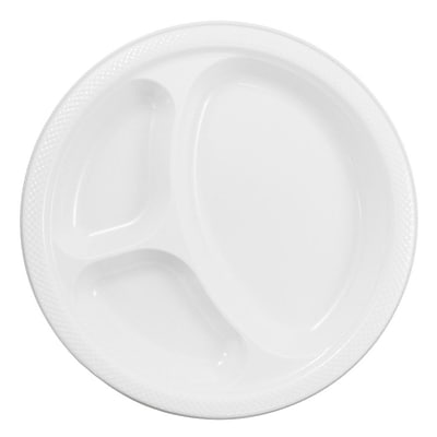 JAM Paper® Plastic 3 Compartment Divided Plates, Large, 10.25 Diameter, White, 20/Pack (10255CPwh)