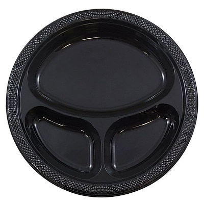 JAM Paper® Plastic 3 Compartment Divided Plates, Large, 10.25 Diameter, Black, 20/Pack (10255CPbl)