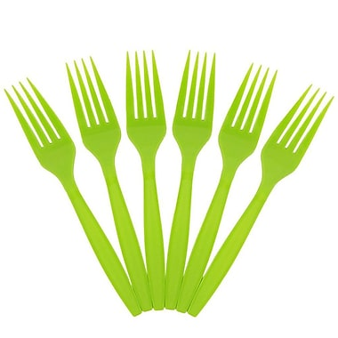 JAM Paper® Big Party Pack of Premium Utensils, Plastic Forks, Lime Green, 100/Pack