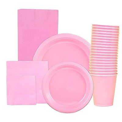 JAM Paper® Party Supply Assortment, Baby Pink, Plates, Napkins, Cups, & Tablecloth, 6 Items Total (255PPbbpi)