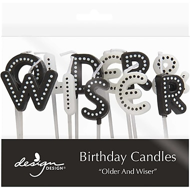JAM Paper® Birthday Candles, Older and Wiser Birthday Candle Set, 2.75 x 3.75, 11/Pack (52675707346)
