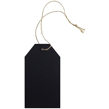 JAM Paper® Premium Gift Tags with Twine String, 4 1/4 x 2 3/8, Black Kraft Recycled, 10/Pack