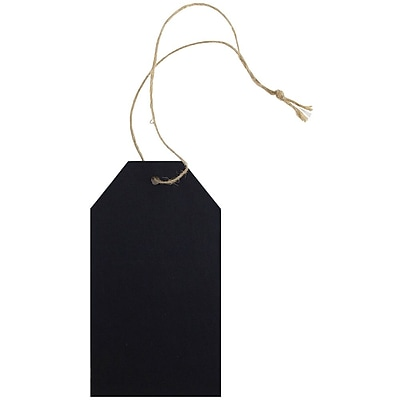 JAM Paper® Premium Gift Tags with Twine String, 4 1/4 x 2 3/8, Black Kraft Recycled, 10/pack (297532728)