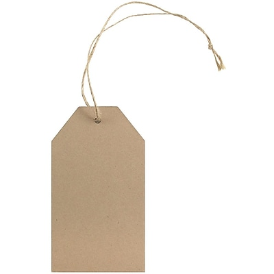 JAM Paper® Premium Gift Tags with Twine String, 4 1/4 x 2 3/8, Brown Kraft Recycled, 10/pack (297532726)
