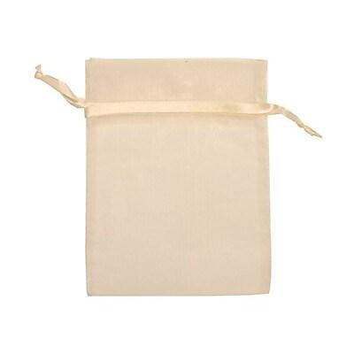 JAM Paper® Sheer Organza Bags, Medium, 5 x 6.5, Ivory, 12/pack (SPC17K2a)