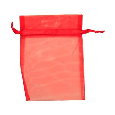 JAM Paper® Sheer Organza Bags, Medium, 5 x 6.5, Red, 12/pack (SPC17K11a)