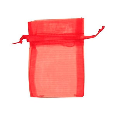 JAM Paper® Sheer Organza Bags, X Small, 3 x 4, Red, 12/Pack