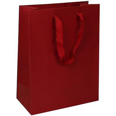 JAM Paper® Heavy Duty Kraft Gift Bags, Large, 10 x 13 x 5, Red Matte Recycled, 10/pack (673HDrea)