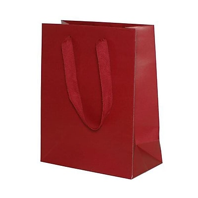 JAM Paper® Heavy Duty Kraft Gift Bags, Medium, 8 x 10 x 4, Red Matte recycled, 10/pack (672HDrea)