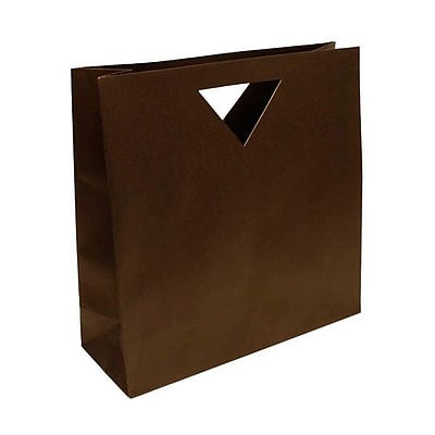 JAM Paper® Heavy Duty Die Cut Bag with Triangular Handle, Large, 15 x 5.5 x 15, Chocolate Brown, 3/pack (895DCchba)
