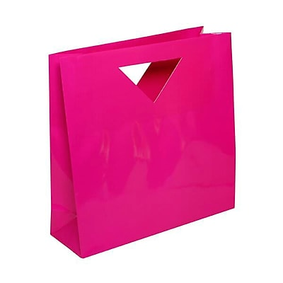 JAM Paper® Heavy Duty Die Cut Glossy Gift with Triangle Handle, Medium, 12 x 4 x 4, Hot Pink Fuchsia, 3/pack (892DCfua)