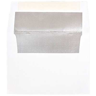 JAM Paper® 6 x 8 Foil Lined Invitation Envelopes, White with Silver Foil Lining, 50/pack (3243675i)