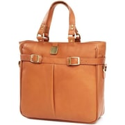 Clava Leather Pleated Buckle Tote - Cafe(CLV759)