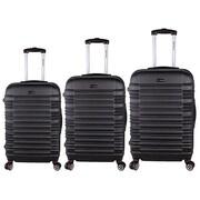 World Traveler 3-Piece Hardside TSA Spinner Luggage Set, Black(ECWE2915)