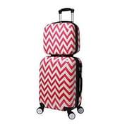 World Traveler Chevron 2-Piece Hardside Carry-on Spinner Luggage Set - Pink(ECWE2881)