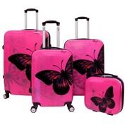 World Traveler 4-Piece Hardside TSA Combination Lock Spinner Luggage Set, Pink Butterfly(ECWE2892)