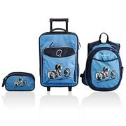 Obersee Little Kids 3 Piece Luggage Set - Blue Motorcycle(HLMN183)