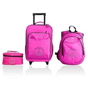 Obersee Little Kids 3 Piece Luggage Set - Bling Rhinestone Peace(HLMN186)