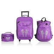 Obersee Little Kids 3 Piece Luggage Set - Bling Rhinestone Angel Wings(HLMN187)