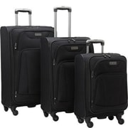 Heritage Travelware 20 x 24 x 28 in. Wicker Park 4 Wheel Upright Luggage Bag Set , 3 Pieces - Black(HTR408)