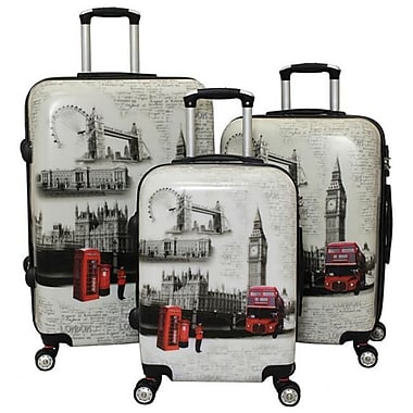 World Traveler TSA Lock Hardside Spinner Luggage Set - London - 3 Piece(ECWE2883)