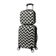 World Traveler Chevron 2-Piece Hardside Carry-on Spinner Luggage Set - Black(ECWE2880)