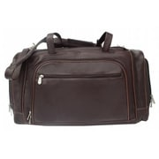 Piel Leather Duffel Bag with Multiple Compartments - Chocolate(PIEL157)