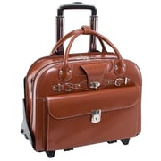 McKlein 15.6 in. Roseville Leather Fly Friendly Detachable Wheeled Ladies Briefcase, Brown - 17 x 6 x 13 in.(MCKLN521)